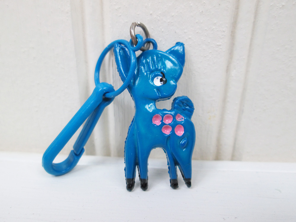 Vintage 80's Plastic Necklace Clip On Charm Blue Deer Fawn