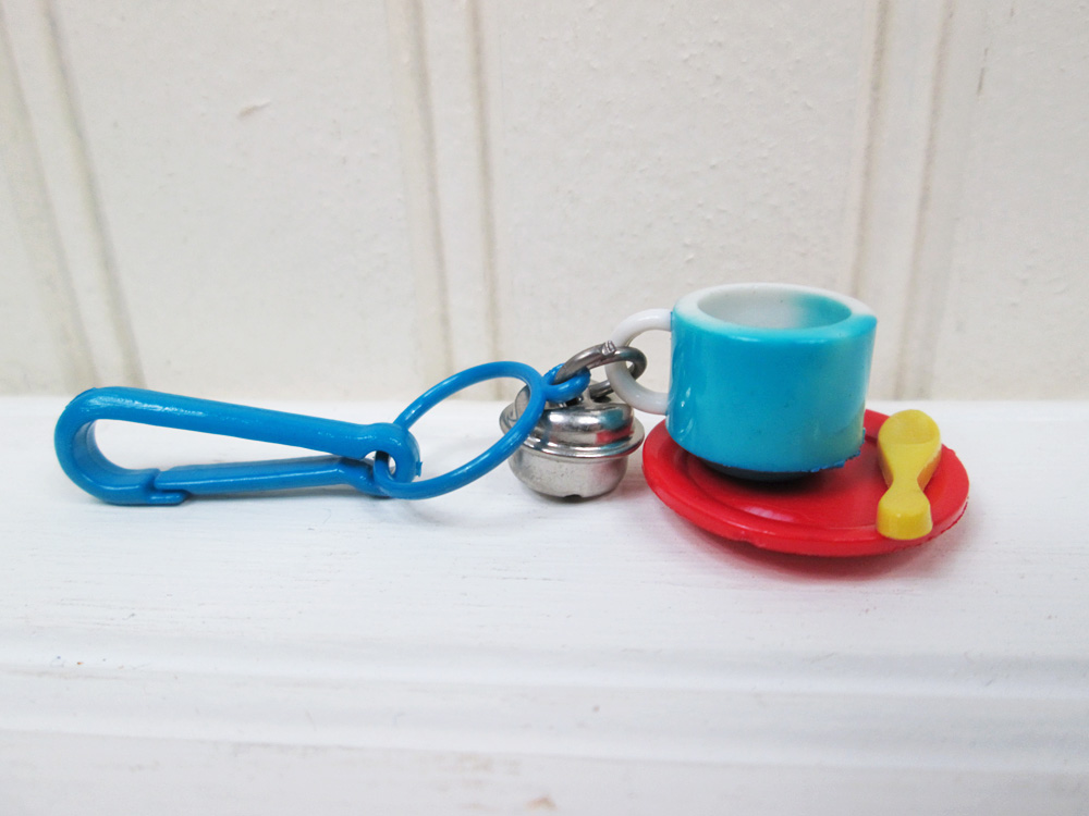 Vintage 80's Plastic Necklace Clip On Bell Charm Coffee Cup Mug Teacup