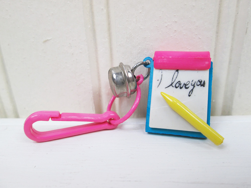 Vintage 80's Plastic Necklace Clip On Bell Charm I Love You Note Notepad