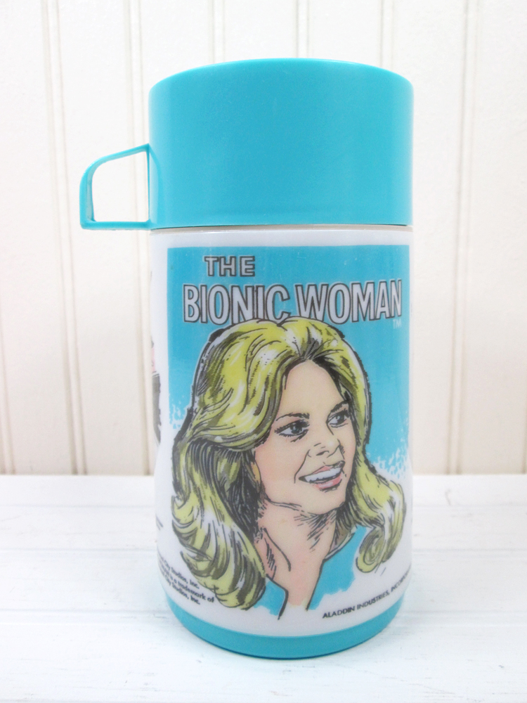 Vintage Bionic Woman Plastic Thermos for Lunch Box TV Show Aladdin