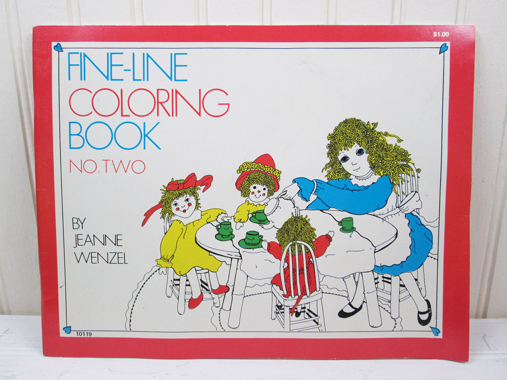 Vintage Adult Coloring Book Fine Line #2 Jeanne Wenzel 1970s