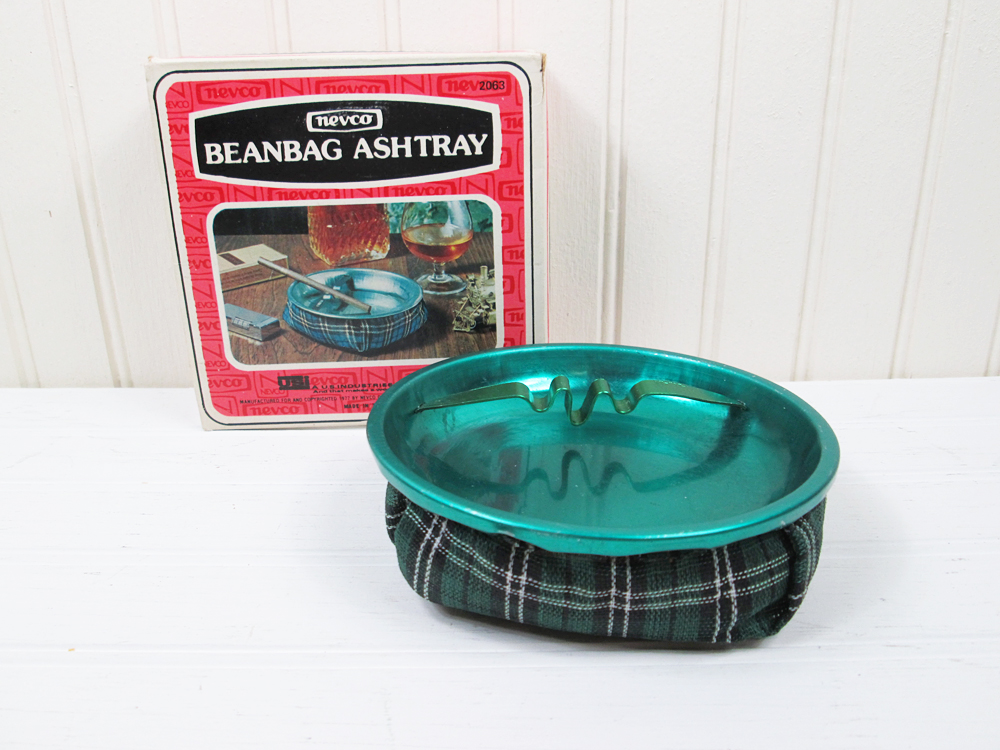 Vintage Nevco Beanbag Ashtray Green Plaid Fabric Original Box 1970s