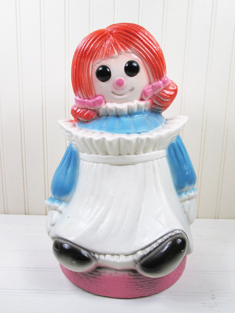 "Vintage Raggedy Ann Doll Ceramic Bank 12"" Retro"