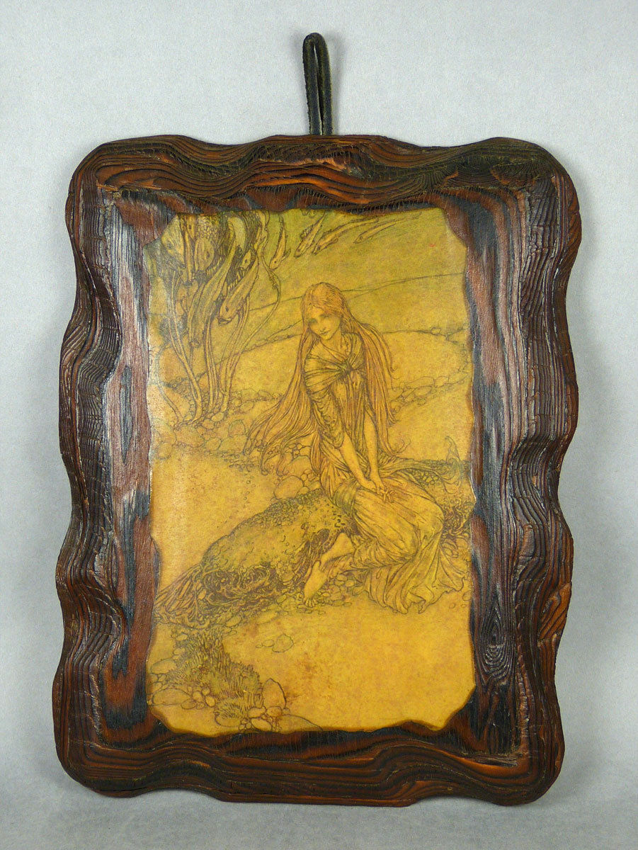 art nouveau decoupage wood wall plaque