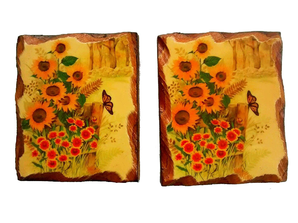 butterfly flowers wood decoupage wall art