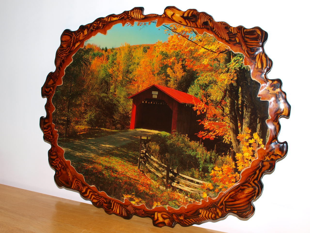 decoupage wood wall art covered bridge