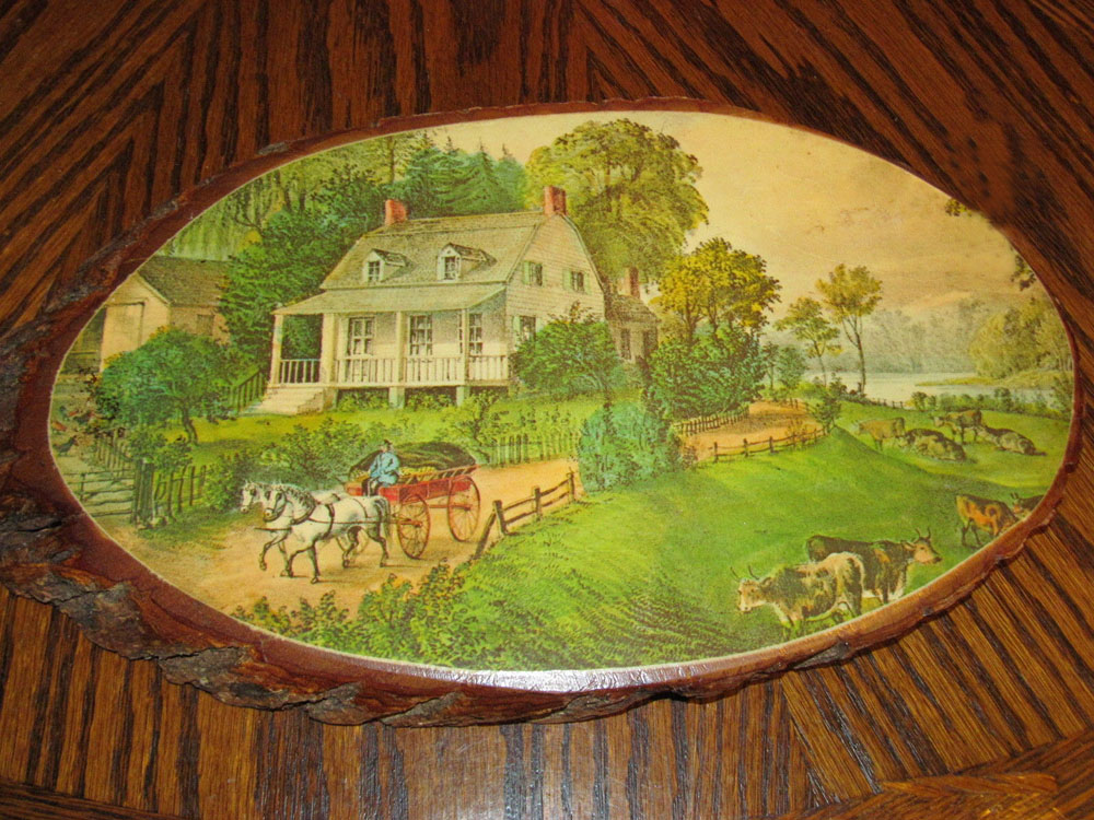 farm scene decoupaged wood slab wall art