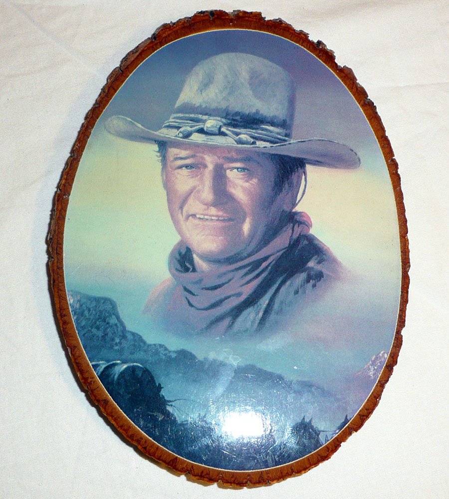 john wayne wood slice decoupaged wall plaque