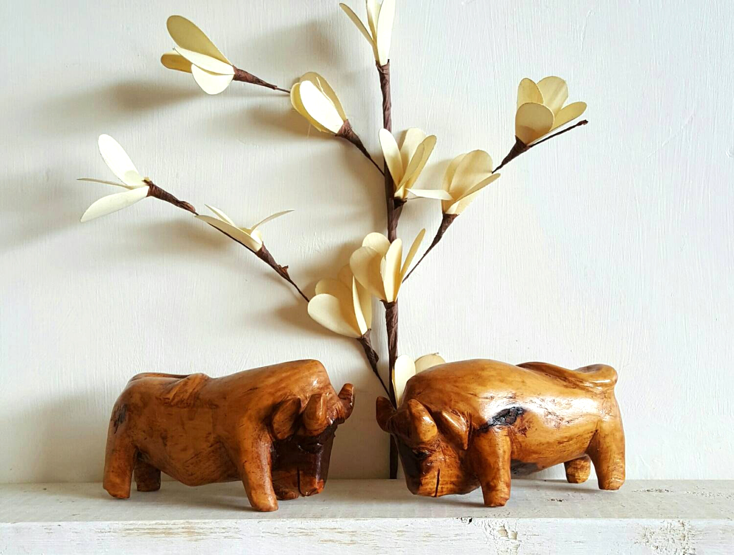 vintage bull oxen wood figurines
