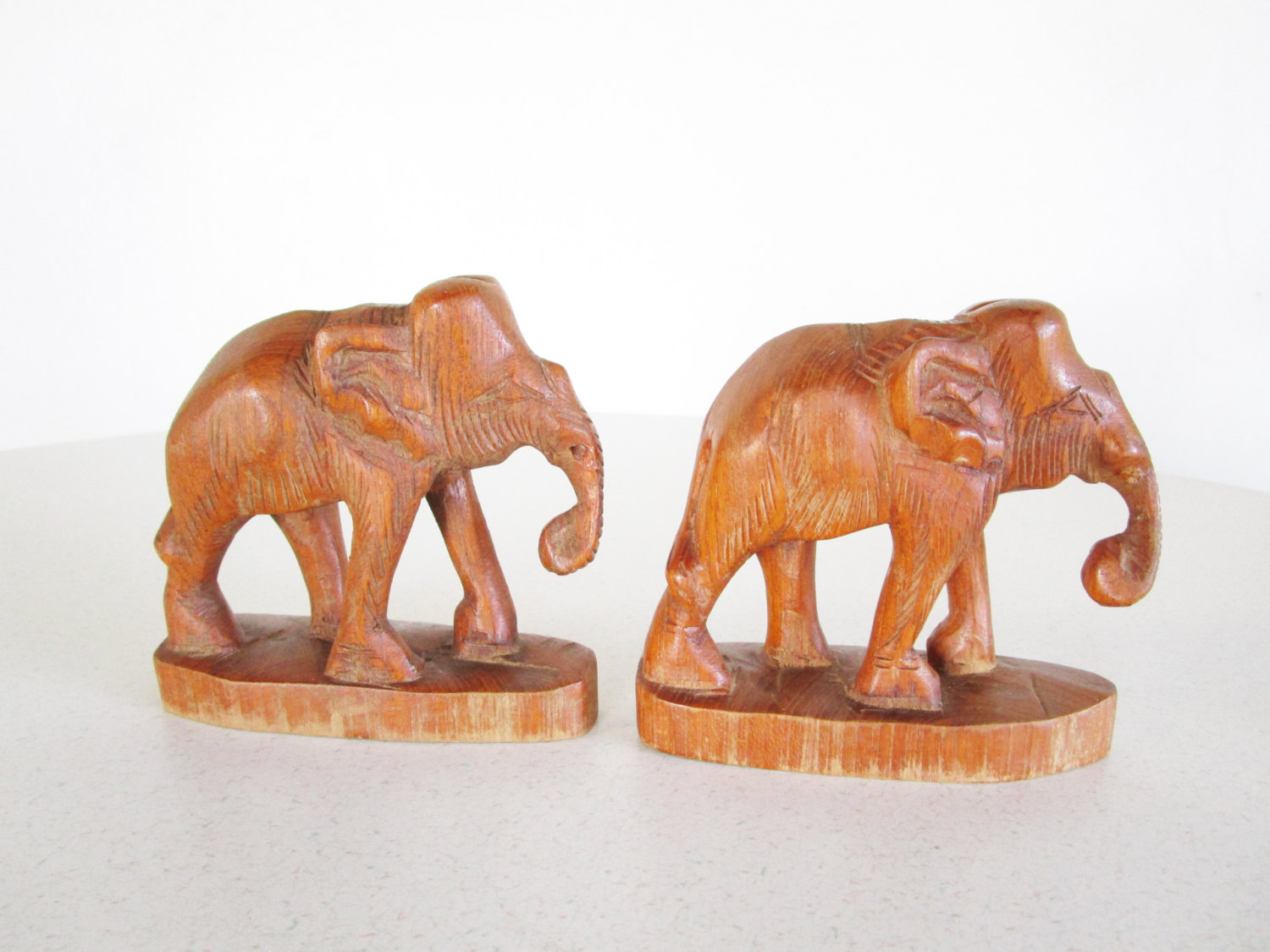 vintage carved wooden elephant figurines