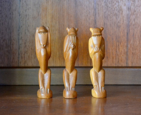 vintage wood hear see no evil monkey figurines
