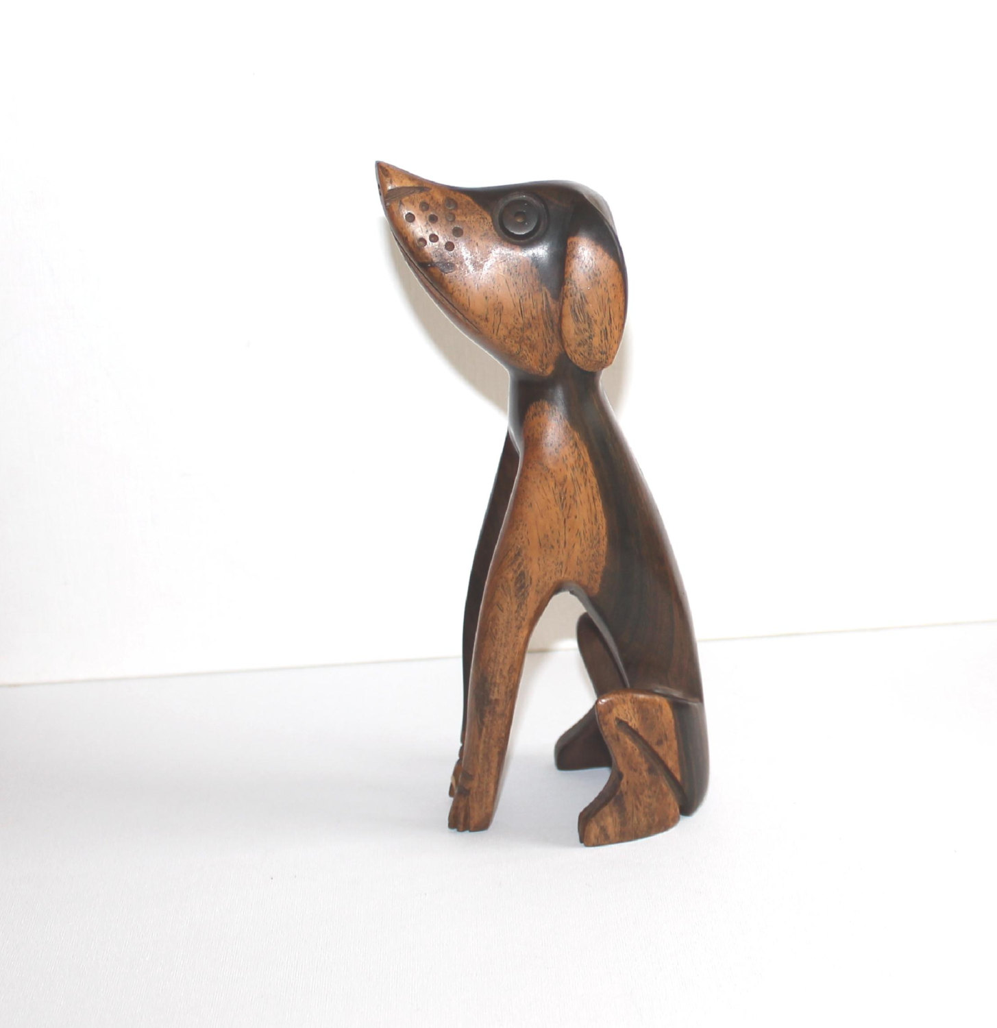 vintage wood modernist dog figurine