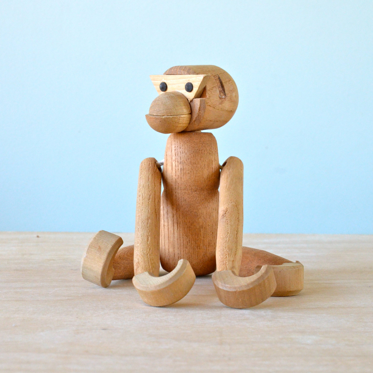 vintage wooden monkey figurine