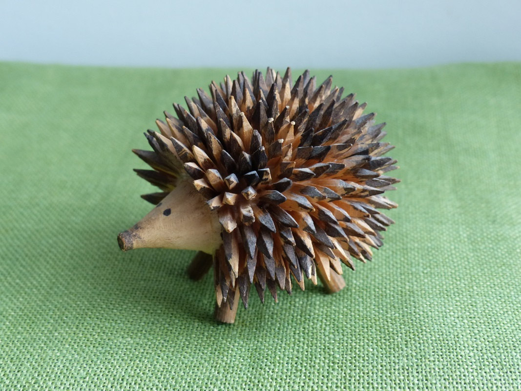 wood hedgehog figurine scandanavian