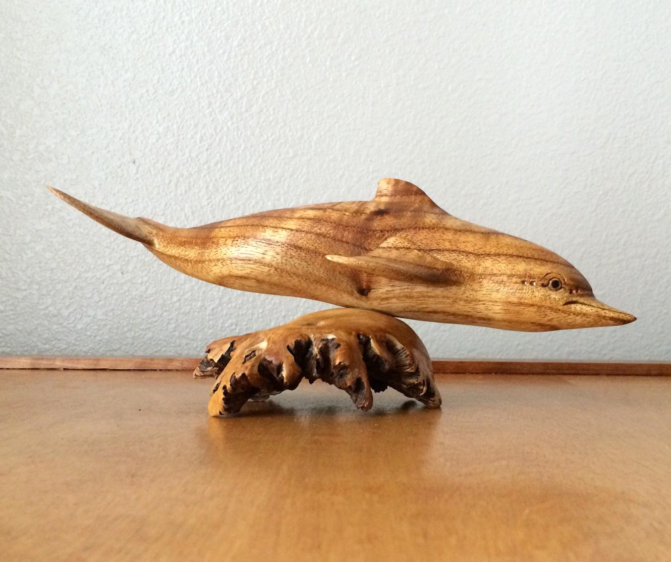 vintage wooden dolphin figurine