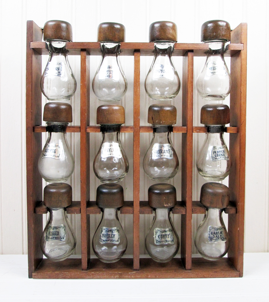 Vintage Hanging Glass Spice Jars Set w/ Wooden Wall Rack