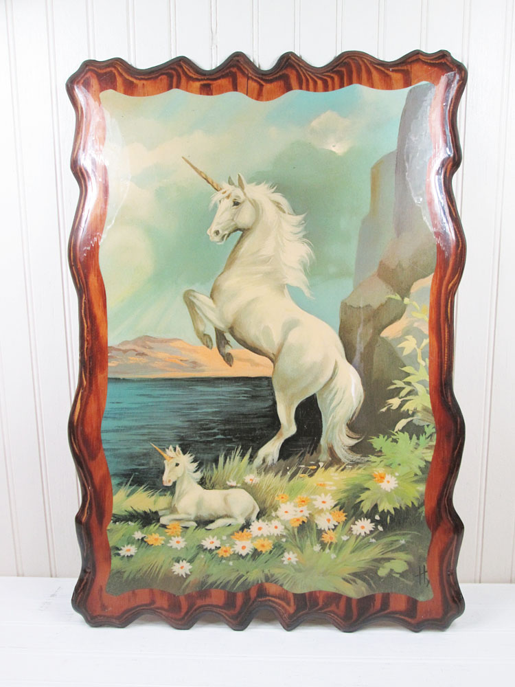 Vintage Decoupaged Wood Unicorn Wall Hanging Art Plaque