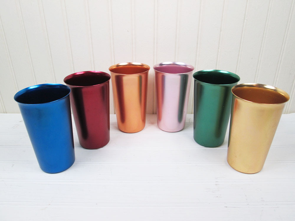 Vintage Colored Aluminum Drinking Tumblers Cups