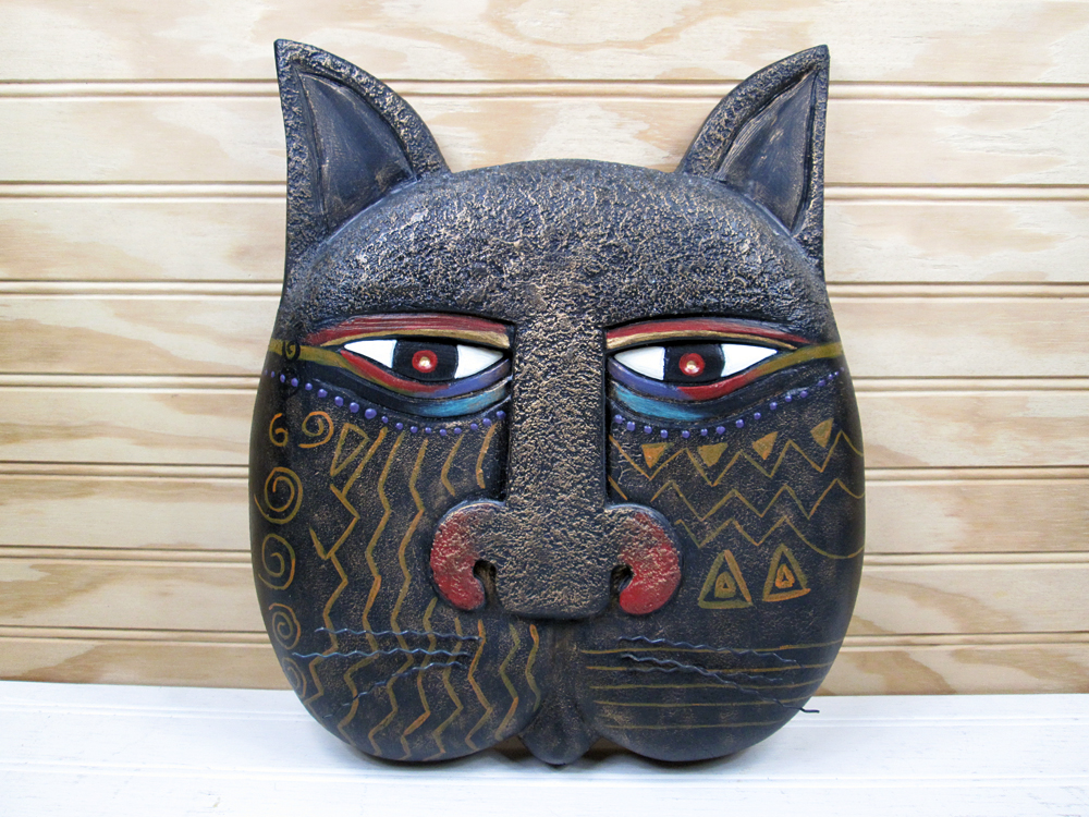Laurel Burch Mysticat Black Cat Mask Medium Wall Hanging