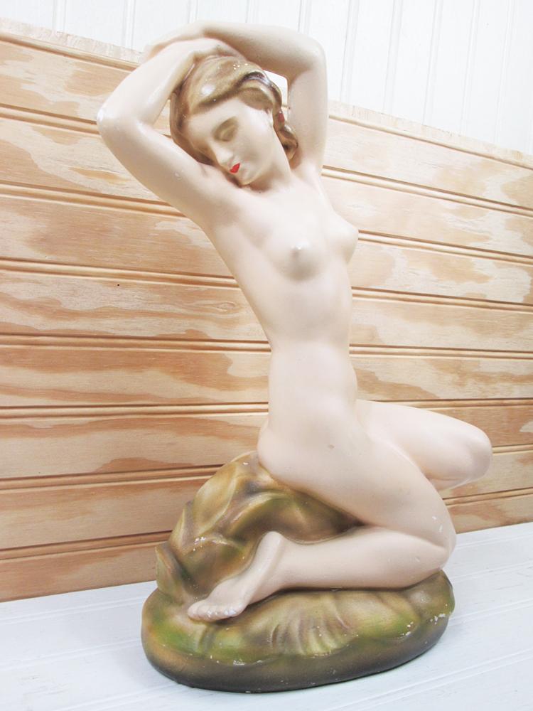 Vintage Nude Woman Chalkware Statue Figurine