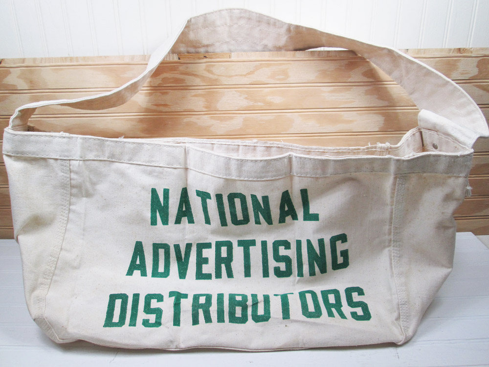 Vintage Canvas Newspaper Carrier Bag